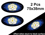 2pcs Fade To Black OVAL Design & Yorkshire York County Flag Vinyl Car sticker decal 75x38mm